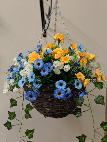 "Summer 2019 Artificial Hanging Basket 12"" with 14"" Flower Spread - Blue, Yellow & White"